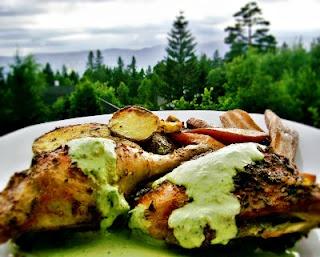 Peruvian roasted chicken and Aji verde sause
