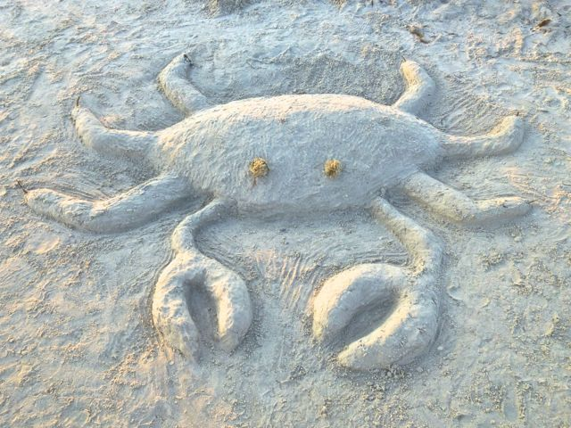 beach sand art sculpture crab