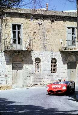 Winning Ferrari 246SP Dino of Olivier Gendebien (at the wheel here) Willie Mairesse and Riccardo Rodriguez at the 1962 Targa Florio.