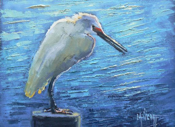 Daily Painting Bird Oil Original Snowy Egret by CarolSchiffStudio, $119.95