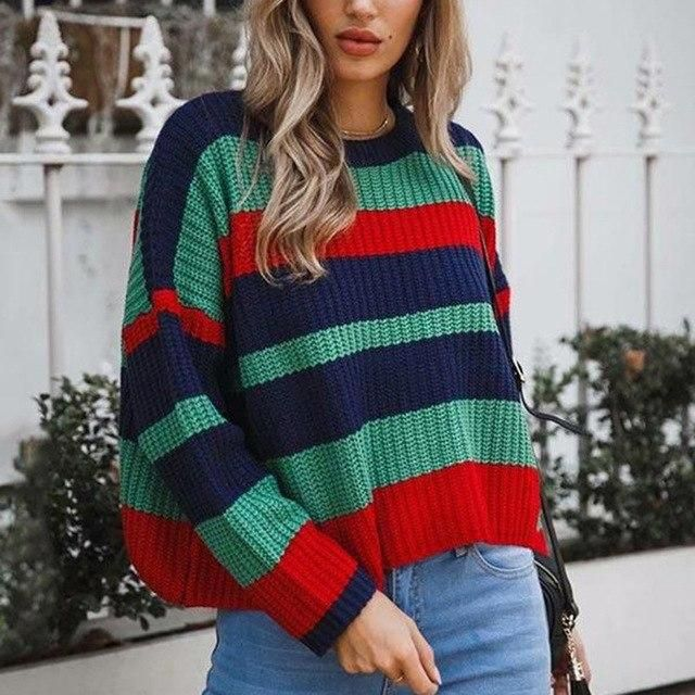 Streetwear Stripe Knitted Sweater Women Casual Knitting Pullovers Plus Size Winter Jumpers Harajuku green M