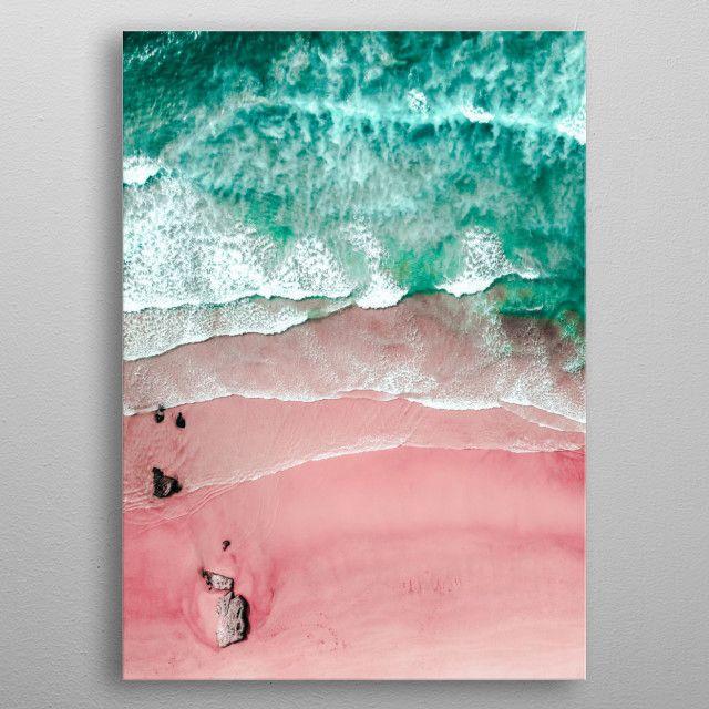 Pink Bondi Beach And Ocean Nature Poster Print Metal Posters In