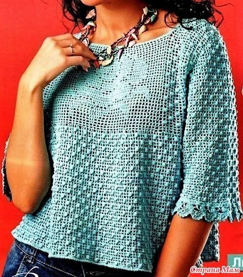 Этот женственный пуловер связан в смешанной технике. Основной узор это шишечки а перед украшает филейная роза! Вяжем крючком №3 март 2012