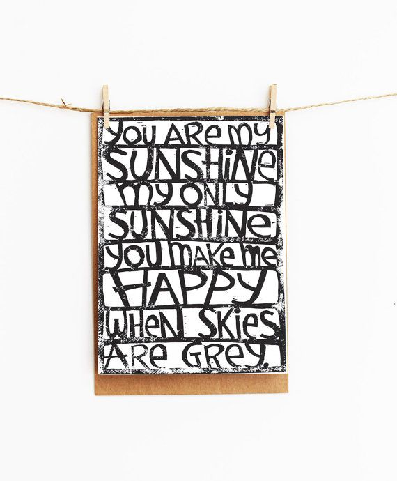 greeting card - you are my sunshine you make me happy - gift card - 106x145xmm on Etsy, $4.00 AUD