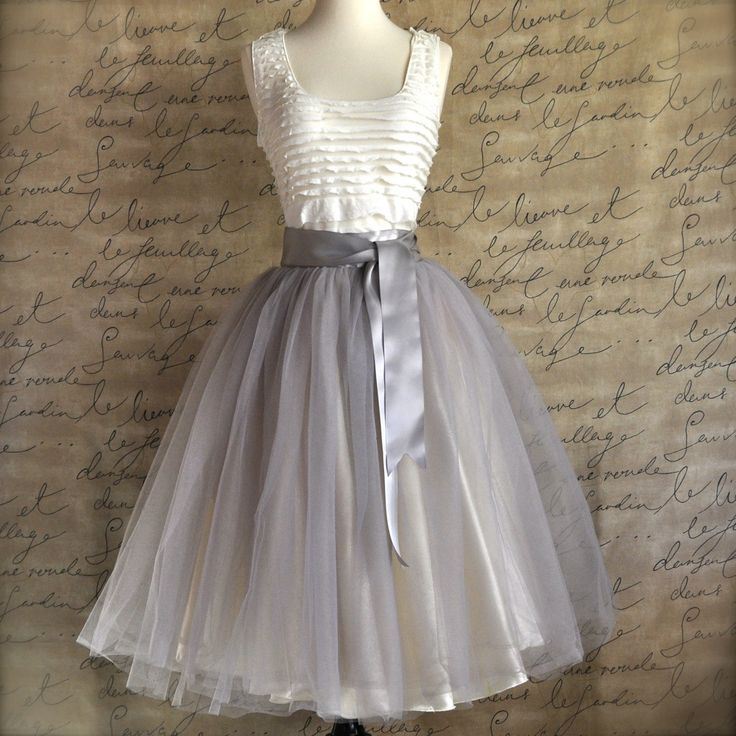 Pale grey tulle tutu skirt for women with ivory satin ...