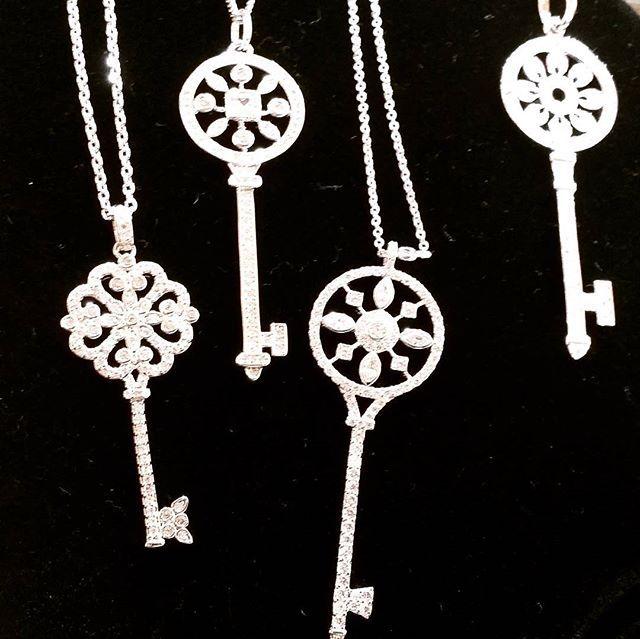 All type of #dainty key necklaces available! #jewelrytrends #keyaccessories #keynecklace #keytomyheart #cz #jewelryaddict #fashionjewelry