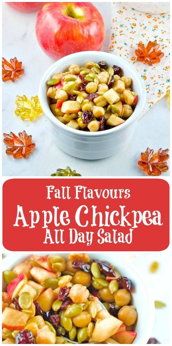 Enjoy the seasonal flavours any time of day with this Fall Flavours Apple Chickpea All Day Salad. Great for breakfast, lunch, snack and dessert too.  #fall #salad #apples | homemadeandyummy.com