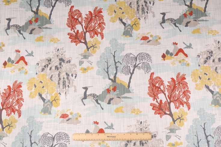 11 Yards Robert Allen Modern Toile Printed Cotton Drapery Fabric in Persimmon