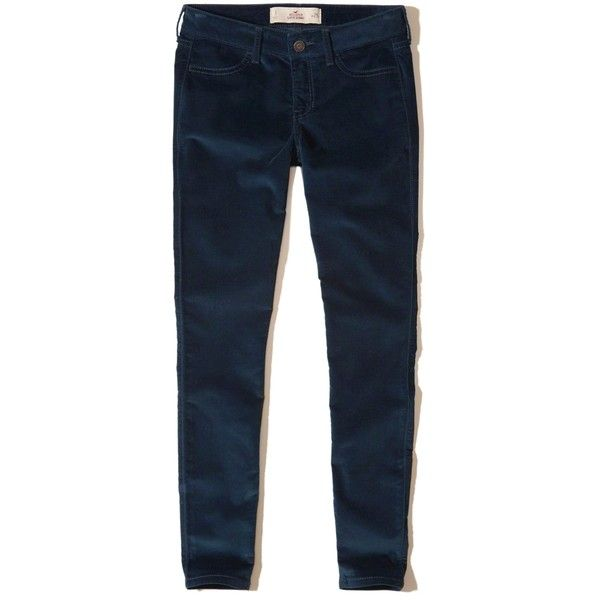 Hollister Low-Rise Super Skinny Velvet Pants ($24) ❤ liked on Polyvore featuring pants, navy, navy pants, navy blue trousers, navy skinny pants, blue pants and low rise pants