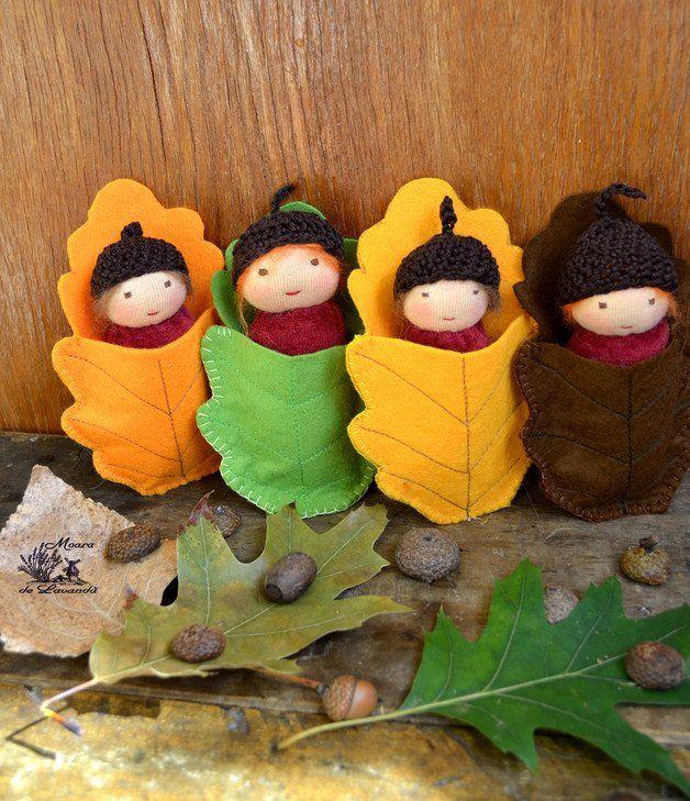 Waldorfpuppen - Herbst verlassen Gnome - ein Designerstück von Loriana-Prioteasa bei DaWanda
