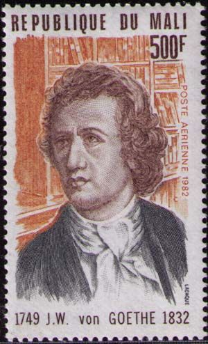 """Johann Wolfgang von Goethe -  born on August 28, 1749  was one of the greatest romantic writers that literature has ever known. Just read """" Passion Trilogy """"to prove.  Stamp from the Republic of Mali,"""