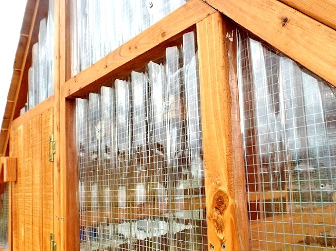 Insulating A frame chicken coops for winter weather while letting in light. Use SeaCoaster Tuftex panel $14 at Lowes.