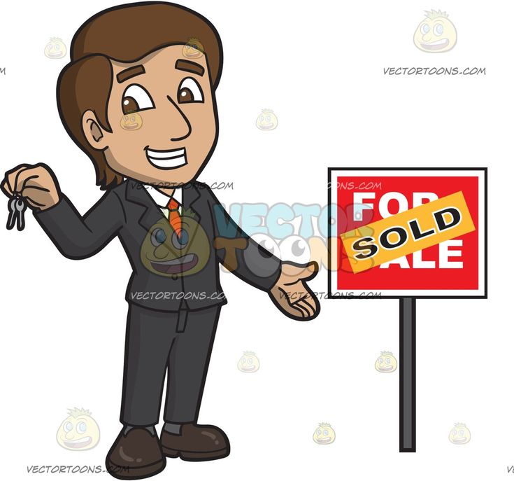 A Happy Male Real Estate Agent Successfully Sells A House:   A man with brown hair wearing a black suit white dress shirt orange necktie brown black shoes grins while holding two keys in his right hand as he stands beside a red for sale sign that has an orange sold sticker plastered on it
