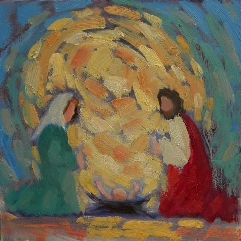 Christmas Painting Holy Family Nativity, original painting by artist Heidi Malott | DailyPainters.com