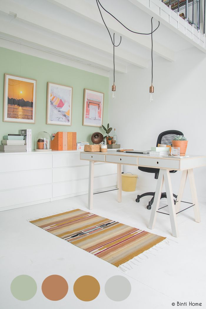 natuurlijk kleurenpalet inrichting kantoor aan huis