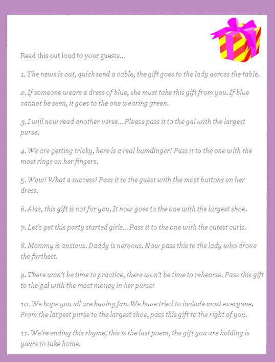 Wedding Shower Pass The Gift Poem : Super Fun Baby Shower Games Fun poems, End of and Gifts