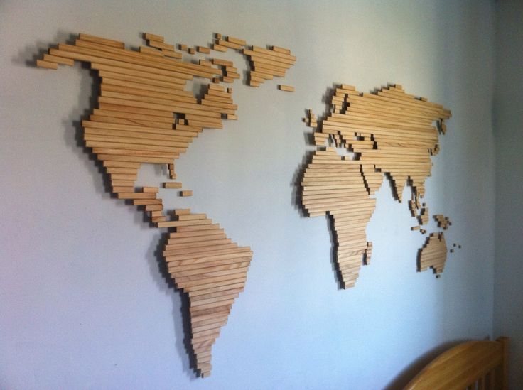 Wood stick World map. Natural wood colour. Great way to have a map in your room.