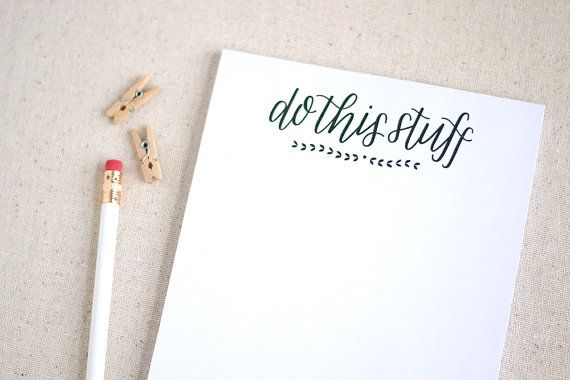 Hand lettered recycled notepad to do list / by paperandhoneyshop, $10.00