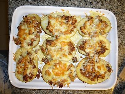 Patates farcides de carn picada i bolets
