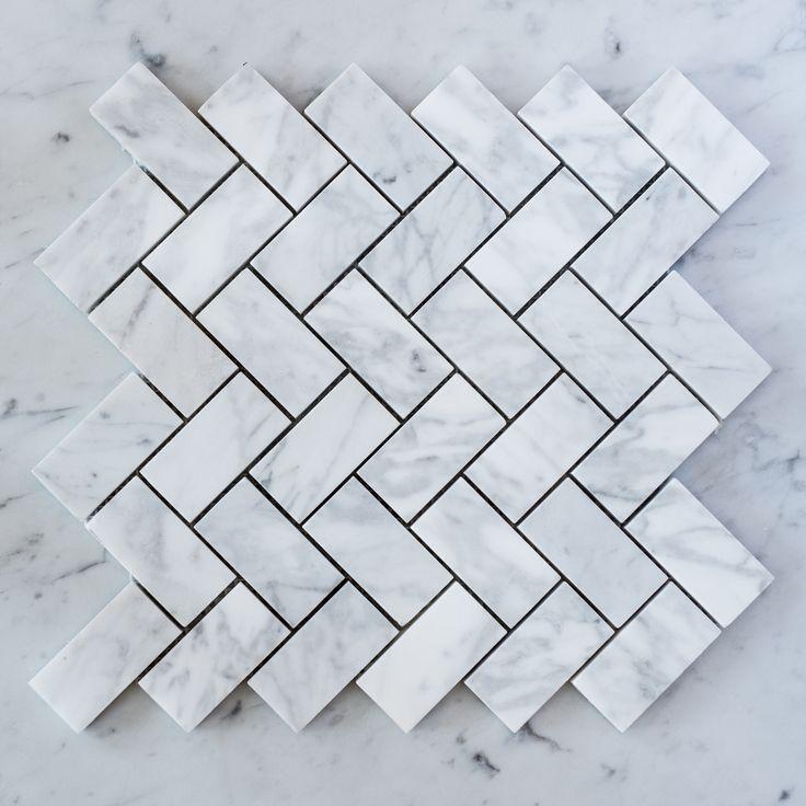 Designer Marble | Carrara Herringbone Mosaic Medium
