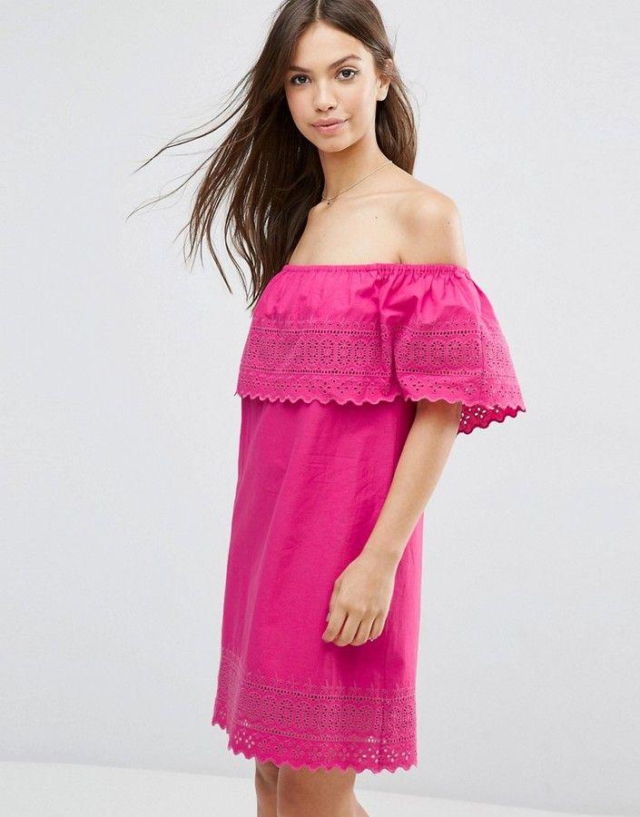 Asos Embroidered Off Shoulder Sundress