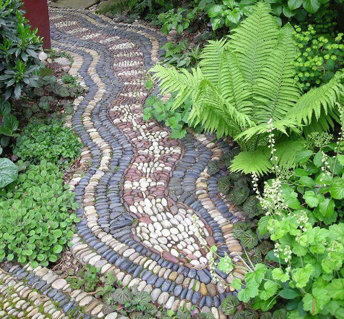 how to make a pebble mosaic walkway