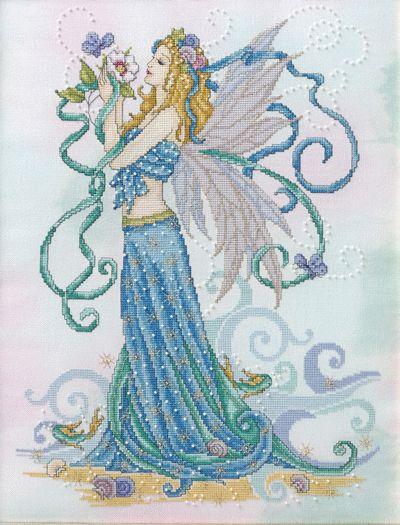 Summer Fairy cross stitch pattern by Joan Elliott, uses Polstitches hand dyed fabric and Kreinik threads.