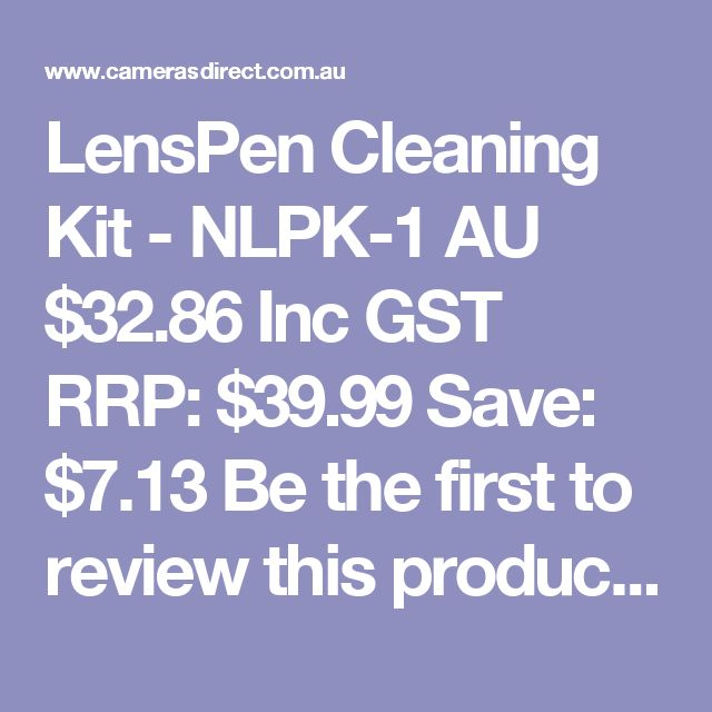 LensPen Cleaning Kit - NLPK-1  AU $32.86 Inc GST RRP: $39.99 Save: $7.13 Be the first to review this product Be the first to ask about this product In Stock in AUSTRALIA now