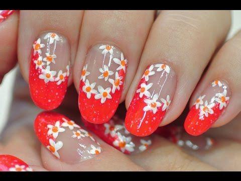 Nail Art. Summer Manicure. White Flowers. Nail Polish Marble Effect. - YouTube