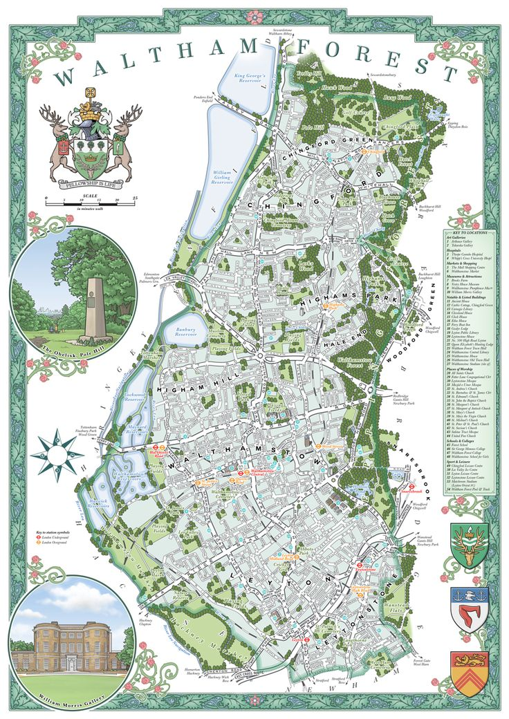 London Borough of Waltham Forest Illustrated Map: This is an original illustrated map of Waltham Forest, a borough of London, UK, inspired by decorative antique map prints and the designs of MacDonald Gill (1884-1947).  The entire design has been entirely hand-drawn and digitally coloured by the artist.  Its decoration scheme references the area's rich diversity, culture and history. The coat of arms at the left of the image are the official arms of the borough, and the shields at bottom…