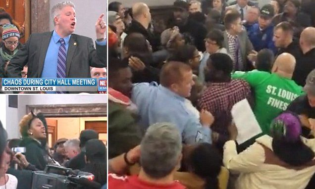 Mass brawl erupts at St Louis meeting in wake of Brown shooting