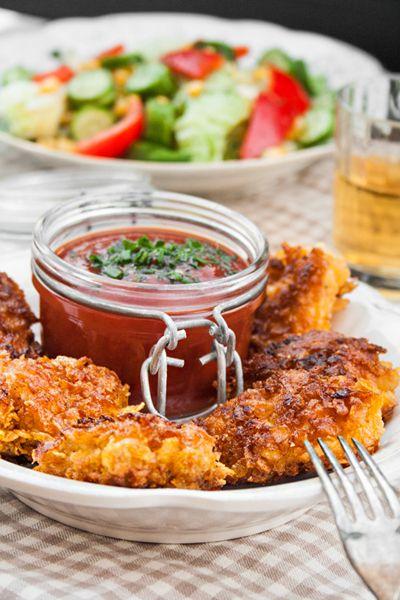 Rezept: Knusprige Chicken Nuggets selber machen mit Cornflakes-Curry-Panande