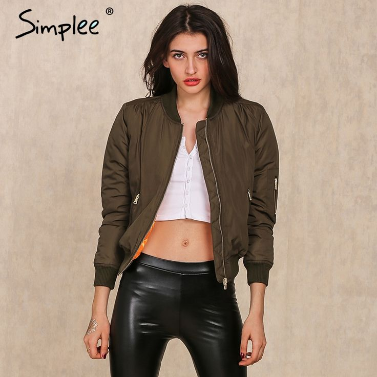 Simplee Apparel Winter parkas cool basic bomber jacket Women Army Green down jacket coat Padded zipper chaquetas biker outwear-in Basic Jackets from Women's Clothing & Accessories on Aliexpress.com | Alibaba Group