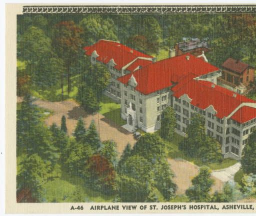 Airplane View of St. Joseph's Hospital, Asheville, N.C. - North Carolina Postcards. What a difference from the way St Josephs looks today!