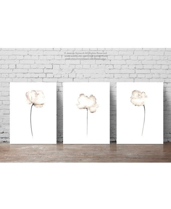 Poppies Set of 3 Wall Decor. Abstract White Flower Minimalist Painting. Watercolor Fine Art Print. Abstract Poppies Floral wall paintings. A price is for the set of 3 diffrent Poppy Art Prints.  Type of paper: Prints up to (42x29,7cm) 11x16 inch size are printed on Archival Acid Free 270g/m2 White Watercolor Fine Art Paper and retains the look of original painting. Larger prints are printed on 200g/m2 White Semi-Glossy Poster Paper.  Colors: Archival high-quality 10-cartridge Canon ...