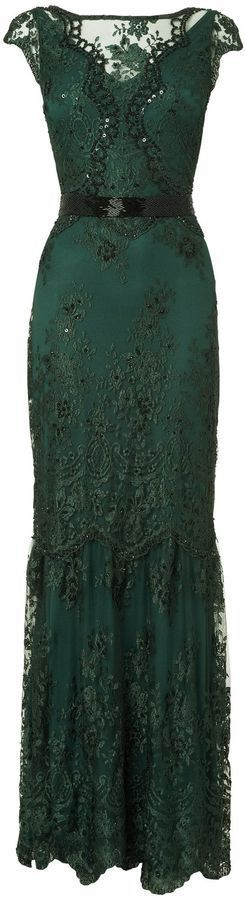 House of Fraser Phase Eight Cindy Green Lace and Sequin Long Dress
