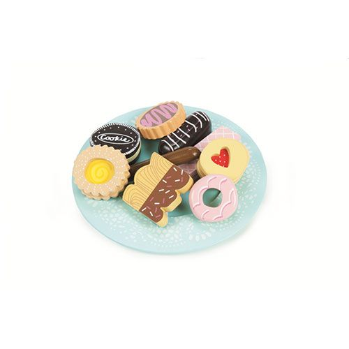 An assortment of 9 fancy painted wooden biscuits complete with a doily-patterned plate, all attractively packaged in a gift box.  Plate Diameter: 190mm  3+ assembled
