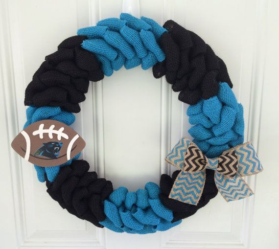 Carolina Panthers wreath - burlap wreath w/ chevron bow and wooden football - Carolina panthers decor on Etsy, $50.00