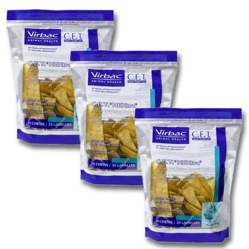 C.E.T. HEXtra Premium Oral Hygiene Chews (with Chlorhexidine) for Extra Large Dogs (51  Pounds) 3 Pack (90 chews) -- You can find out more details at the link of the image. (This is an affiliate link and I receive a commission for the sales)