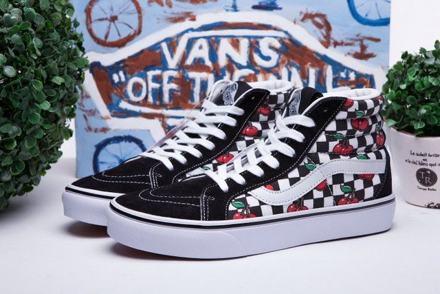 200eb096ae2 Hot Cherry Vans Sk8 High Checkerboard Black White Canvas Off The Wall Skate  Shoes  S5082103  -  39.99   Vans Shop