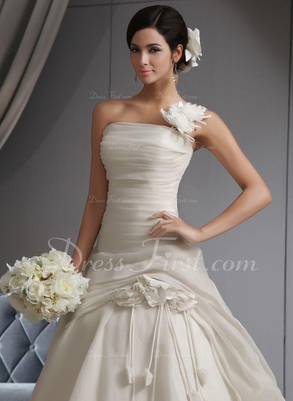 Gala-Japon Een-Schouder Kathedraal Trein Organza Bruidsjurk met Roes Bloem(En) (002022678) - DressFirst