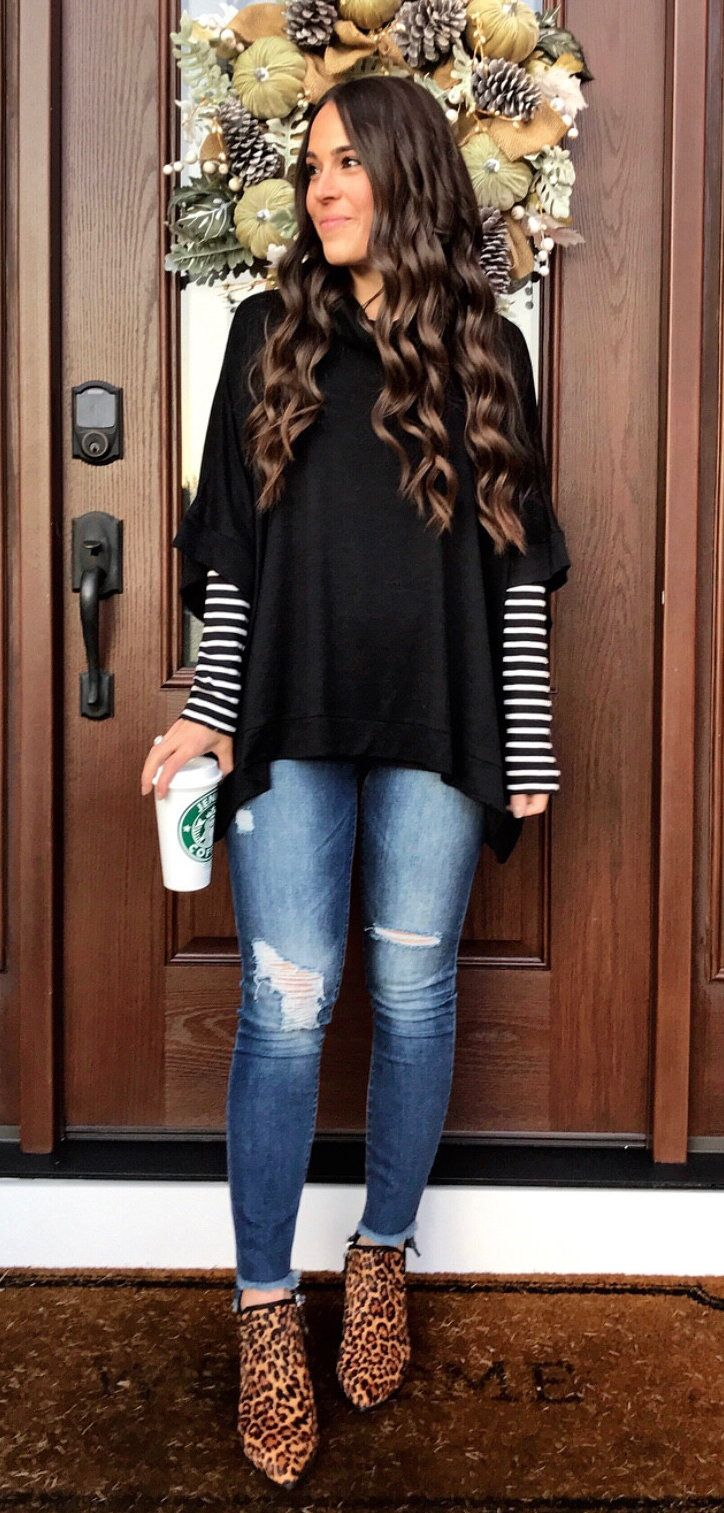 4d0fc9de762  fall  outfits women s black and white striped long-sleeve shirt and blue  faded distressed skinny jeans. Click To Shop This Look.