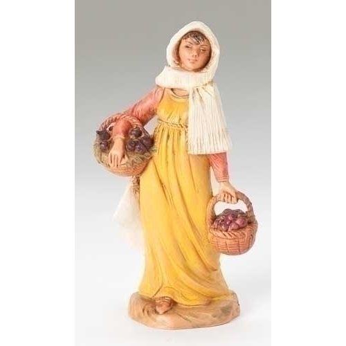 "5""Moriah W/Fig Basket Fig    Polymer  5"" SCALE - Distributed by: Roman Inc.<5"" Fontanini Sets & PiecesRoman, Inc.5""Moriah W/Fig Basket Fig>"