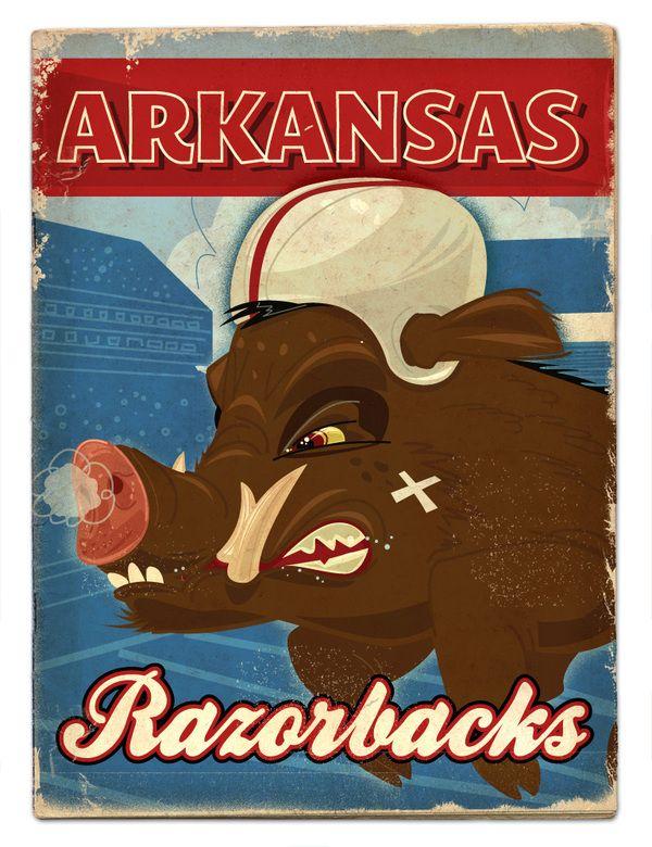 This is wonderful!  I'd buy this print.  Go Razorbacks!      SEC football preview by Thomas Burns, via Behance