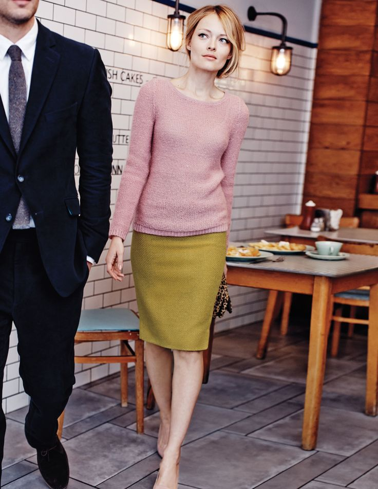 Pink sweater, chartreuse pencil skirt, nude heels