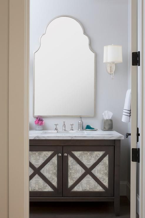 Antiqued mirrored washstand