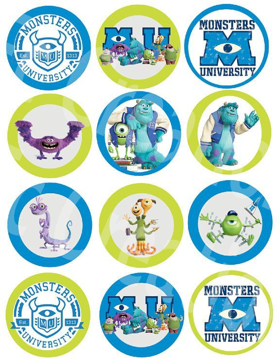 Monsters Inc Birthday Printables Free | Monster University Stickers or Cupcake topper Digital file