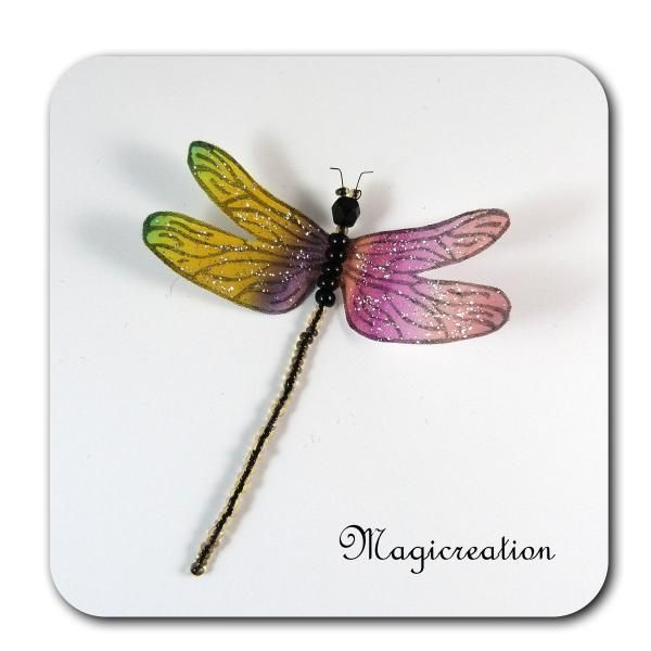 MAGNET LIBELLULE SOIE ROSE ET JAUNE-DEMOISELLE - Boutique www.magicreation.fr