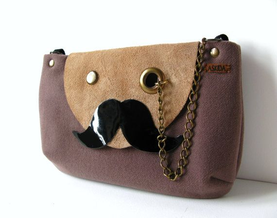 Mr. Mustache with Monocle Taupe Cross Body / Shoulder Bag