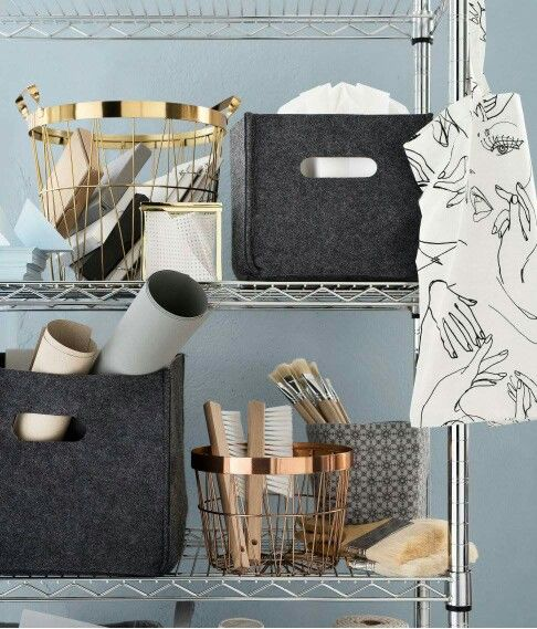 Storage copper gold grey